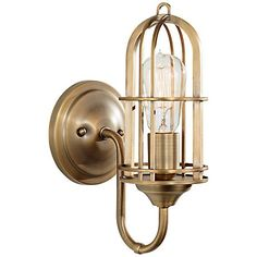Warm and industrial, this bright wall sconce is finished in dark antique brass with an open shade design.