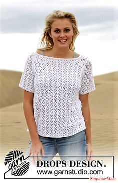 """3fa4462ad Free Pattern Knitted DROPS top with lace pattern and raglan in """"Safran"""".  Size: S - XXXL."""