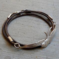 fly away - Antique silver vintage sparrow genuine Greek leather wrap bracelet, medium brown