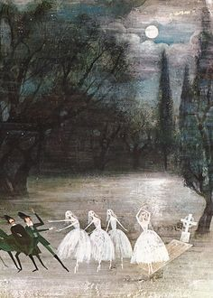 Beautiful creepy illustration from a children's book (Alice & Martin Provensen. Tales from the Ballet: Giselle) Art And Illustration, Book Illustrations, Alice Martin, Nocturne, Illustrators, Fantasy Art, Fairy Tales, Art Photography, Drawings