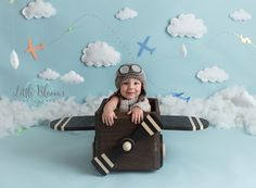 Airplane, adventure, first birthday cake smash, airplane prop, hanging clouds, aviator hat