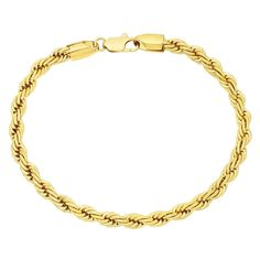 5mm Rounded 14k Yellow Gold Plated Braided Rope Twisted Link Bracelet   Microfiber Jewelry Polishing Cloth