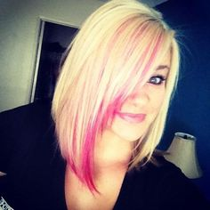 Pink blond color.! LOVE this cut! Someday. Maybe brown on top and blonde below for a twist on what I have now.
