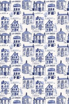 Maison Delft - Clarke & Clarke Fabrics - An all over fabric design featuring various stylized houses. Shown here in delft blue on off white. Other colourways are available. Please request a sample for a true colour match. Fabric Wallpaper, Pattern Wallpaper, Clarke And Clarke Fabric, Delft Tiles, Willow Pattern, Blue China, Fuchsia, Pattern Design, Fabric Design