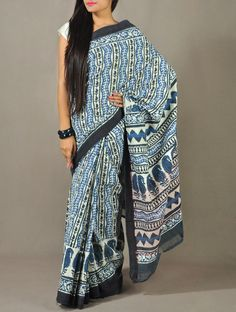Blue Cotton Block-printed Saree - Woven Border
