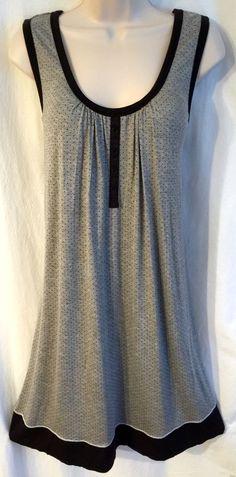 Womens Secret Treasures Nightgown XL 16-18 Sleeveless Black/Gray Polka Dot Soft!    eBay