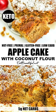Keto Apple Cake with Coconut Flour is utterly moist, tender, sweet and delicious! Nut-free, Gluten-free and Primal, this cake is such a fun fall and winter treat, but also great year round. | Eat Beautiful || #keto #lowcarb #ketorecipes #apple #cake #coconutflour #primal #glutenfree #nutfree Paleo Dessert, Healthy Dessert Recipes, Gluten Free Desserts, Real Food Recipes, Keto Desserts, Cake Recipes, Free Keto Recipes, Ketogenic Recipes, Low Carb Recipes