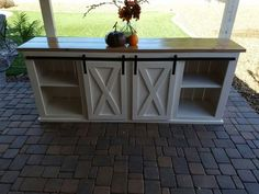 New (never used) - Custom made sliding door console, great for tv or media center. Price includes lengths up to 8 ft. Can customize for your choice of paint and stain for top. Beautiful piece at a steal of a price. Usually takes days for completion. Sideboard Ideas, Media Center, 10 Days, Sliding Doors, Farm House, Farmhouse Decor, Repurposed, Console, Rustic