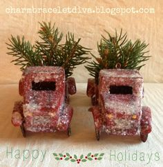 Charm Bracelet Diva {at Home}: Christmas Decorating with Mini-Pickup Trucks and Fresh Christmas Greens