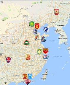 2021 Chinese Super League Map Changchun, Fifa, Dalian, Club, Sports Logo, Team Logo, Korea, Soccer, Football