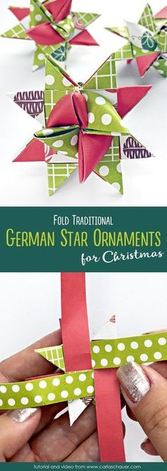 These are so pretty! How to Make German Star Ornaments. Origami Christmas Ornament, Origami Ornaments, Fabric Christmas Ornaments, Paper Ornaments, Christmas Sewing, Noel Christmas, Star Ornament, Diy Christmas Gifts, Christmas Projects