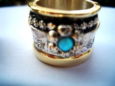 Spinning ring spinner ring silver and gold with a by Bluenoemi, $420.00