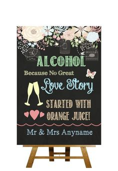 Shabby Chic Pretty Chalkboard Style Alcohol Bar Personalised Wedding Sign