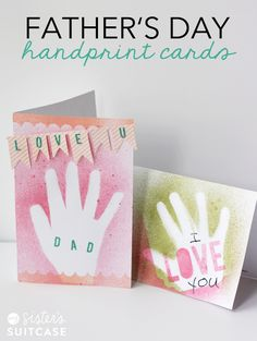 DIY Gifts : Make some Easy Handprint Father's Day Cards with your kids! Handmade Father's Day Gifts, Diy Father's Day Gifts, Father's Day Diy, Handmade Cards, Fathers Day Art, Fathers Day Crafts, Daddy Day, Handprint Art, Homemade Gifts