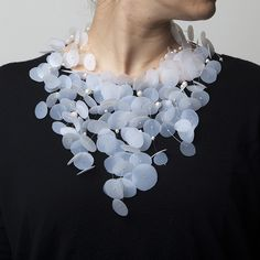 Frosted plastic necklace with cascading discs; freshwater pearls and silver; contemporary jewellery design // Catrine Berlatier
