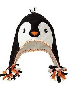 Penguin Critter Hats for Baby Fleece Projects, Sewing Projects, Sewing For Kids, Baby Sewing, Pinguin Hut, Fleece Hat Pattern, Penguin Costume, Fleece Hats, Crazy Hats