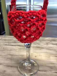Hooked by Heidi: Crochet Wine Glass Holder with Neck Strap