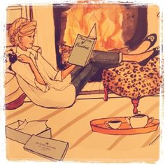 The perfect life: a roaring fire with a cup of tea and a good book.