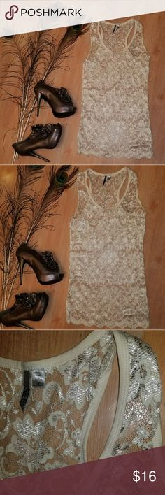 BKE Lace Tank In excellent condition, tunic length. BKE Tops Tank Tops