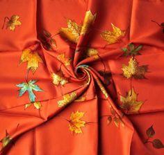 "GORGEOUS Hermes Paris Silk Scarf ""A WALK IN THE PARK"" orange colourway...gorgeous"