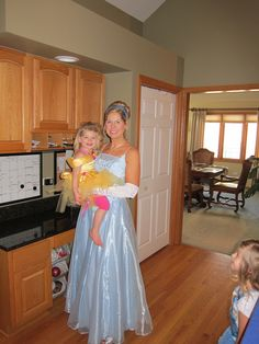 Dressed up as Cinderella, with my baby Belle. Beauty And The Beast Party, Prom Dresses, Formal Dresses, My Beauty, Girl Birthday, Cinderella, Dress Up, Kids, Baby