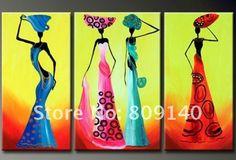 Cheap Pintura al óleo vestida mujeres africanas Dancing decorativo abstracta…