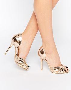Image 1 of True Decadence Rose Gold Metallic Heeled Peep Toe Sandals