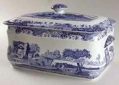Blue and white bread bin