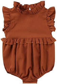 50385de3c593 Amazon.com  Younger Tree Toddler Baby Girls Summer Clothes Ruffled Collar  Sleeveless Romper Jumpsuit (Green