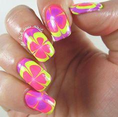 Colorful water marble nail art, perfect shades for summer nails!
