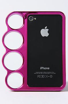 Brass knuckle iphone case in pink (: