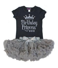 Birthday Princess Pettiskirt Set Birthday Shirt Silver by madgrrl