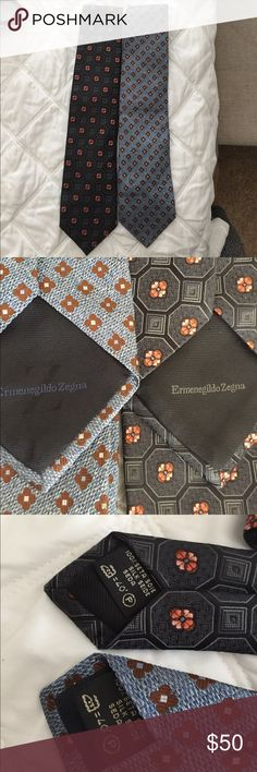 Set of 2 Ermenegildo Zegna ties 100% silk Set of 2 Ermenegildo Zegna 100% silk ties, made in Italy. The ties are in excellent condition. My husband no longer needs to wear a tie to work everyday so we have way too many taking space in our closet. Originally $195 each at Nordstrom Ermenegildo Zegna Accessories Ties