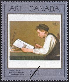 Ozias Leduc Canadian / The Young Student, oil on canvas / National Gallery of Canada painting depicted on Canada Post postage stamp 'The Young Reader', 1988 . shows the artist's younger brother reading a book Library Posters, Sell Stamps, Postage Stamp Art, Stamp Catalogue, Canadian Art, My Father, Oil On Canvas, Book Art, Books To Read