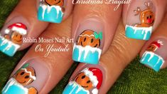 DIY Cute Gingerbread Man Nail Art! Icicle Xmas Nails Design!! Please share this & #NEW (show me what YOU want me to paint! Hashtag me with  #paintmerobinmoses on Instagram!!!) Support freehand nail art! #nails #nailart #christmas #freehandnails  #sisterhoodofnailart #nailartsisterhood #holiday #xmas #christmas #handpainted #diyxmasnails #easynails  #xmasnails #christmasnails #xmasnails #gingerbreadman #icicles