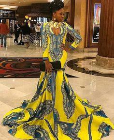 Yellow Dashiki Floor Length Maxi Dress, Dashiki Dress with Long train, Dashiki Ball gowns, African Ball Gowns, African Ball Dresses African Prom Dresses, African Wedding Dress, African Fashion Dresses, African Attire, African Wear, African Women, African Dress, Fashion Outfits, Fashion Ideas