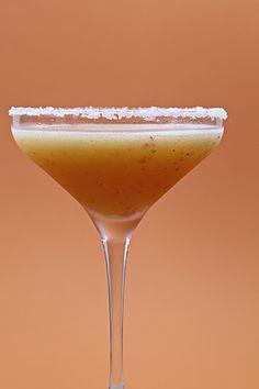 Nectarine margaritas with fleur de sel rim. #food #drinks #cocktails #margaritas #nectarines