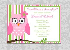 Owl Birthday Invitation - First Birthday  Look  Whoo's Turning One  Stripes  girl  printable digital  invitations   pink and green. $15.00, via Etsy.