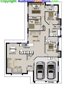 175 m2  Narrow Lot  4 Bedroom house plans  by AustralianHousePlans