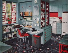 This visually frenetic kitchen is another Armstrong linoleum ad. Published in 1948 in American Home magazine, it offers some of the design excesses that typify the Post WWII period. Still, even with too much rapid eye movement, there are lots of useful ideas for organizing 21st century kitchens.