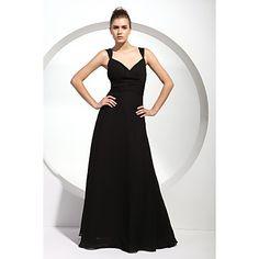 A-line Straps Floor-length Chiffon Bridesmaid/ Wedding Party Dress – USD $ 118.79