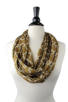 Womens Infinity Scarf w/ Zipper Pocket & Pattern Print - Golden Brown Scarf. Golden Brown Scarf - Super Soft, lightweight, infinity scarf, fashion scarf with quatrefoil pattern design. Infinity Scarf, with Zipper Pocket fits: smartphone, passport, money, cash, coin purse, keys, cell phone, or wallet, Best Selling Smartphone Accessories. Womens Scarves - May be wrapped, tied, or knotted, Good for; Summer scarf, Fall Scarf, Winter Scarf, Spring Scarf. FASHION SCARVES - GIFT IDEAS - Best gifts…