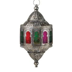 /    10016068 - Rustic Moroccan Hanging Lantern - Wholesale. You simply wont find a more stunning candle lantern than this! Gorgeous silver metal is shaped like an exotic treasure, featuring intricate patterns and cut work that lets the light of a candle shine through. The central windows cast a rainbow... https://superwholesaler.com