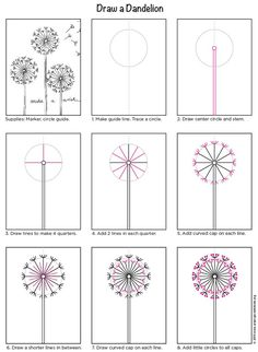 Dandelion Painting · Art Projects for Kids – arts creator Dandelion Drawing, Dandelion Painting, Painting Art, Dandelion Flower, Doodle Drawings, Easy Drawings, Doodle Art, Flower Drawings, Zen Doodle