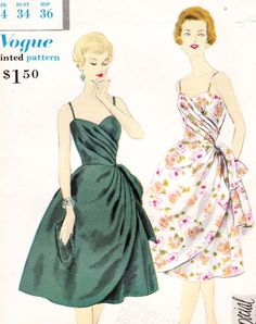 Vogue Special Design 4010 Vintage 1950s evening dress and petticoat