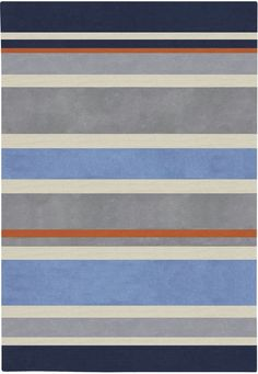 Love the navy, gray and orange in this striped rug. Perfect for a boy's room!