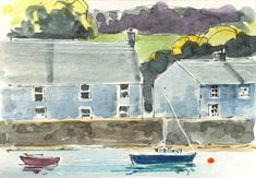 Signed Original ACEO Watercolour -Harbour Wall - by Annabel Burton