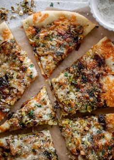 This brussels sprouts pistachio pizza is divine! Loaded with caramelized onions, sharp cheddar, parmesan and pistachios. It's so good!