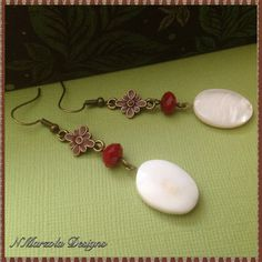 Hey, I found this really awesome Etsy listing at https://www.etsy.com/listing/183592741/shell-and-red-crystal-earrings-white-and