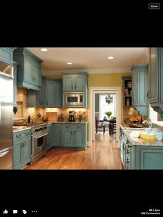 Pretty cabinets, not the walls so much Distressed Kitchen Cabinets, Kitchen Cabinets For Sale, Painting Kitchen Cabinets, Kitchen Redo, New Kitchen, Kitchen Cousins, Rustic Cabinets, Kitchen Island, Kitchen Cabinetry